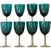 8 Antique Victorian Green Blue  Wine Glasses