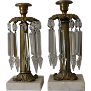 Pair of Antique Regency Lusters Lustres Candlesticks