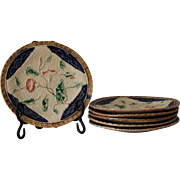 6 Victorian Majolica Dessert Plates