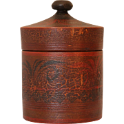 Antique Painted Decorated Treen Canister