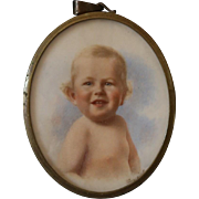 Edwardian Miniature Portrait of a Baby Boy