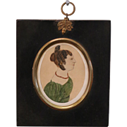 Antique Miniature Naive Folk Portrait