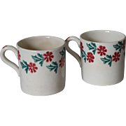 Pair of Antique Spongeware Stick Spatter Children's Mugs