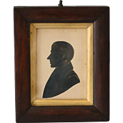 Antique Georgian Miniature Portrait Silhouette - Red Tag Sale Item
