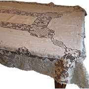 Embroidered And Needle Lace Linen Tablecloth