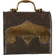 Antique Tole Tin Bank Moneybox