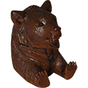 Antique Black Forest Bear Inkwell Ink Stand