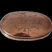 Lady's Georgian Copper Tobacco Snuff Box