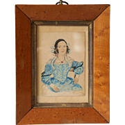 Antique Georgian Miniature Folk Naive Portrait