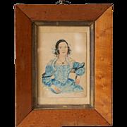 Antique Miniature Folk Naive Portrait