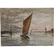 Antique Century Marine Sailing Watercolor