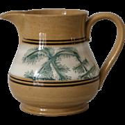 Antique Mocha Mochaware Yellow ware Jug