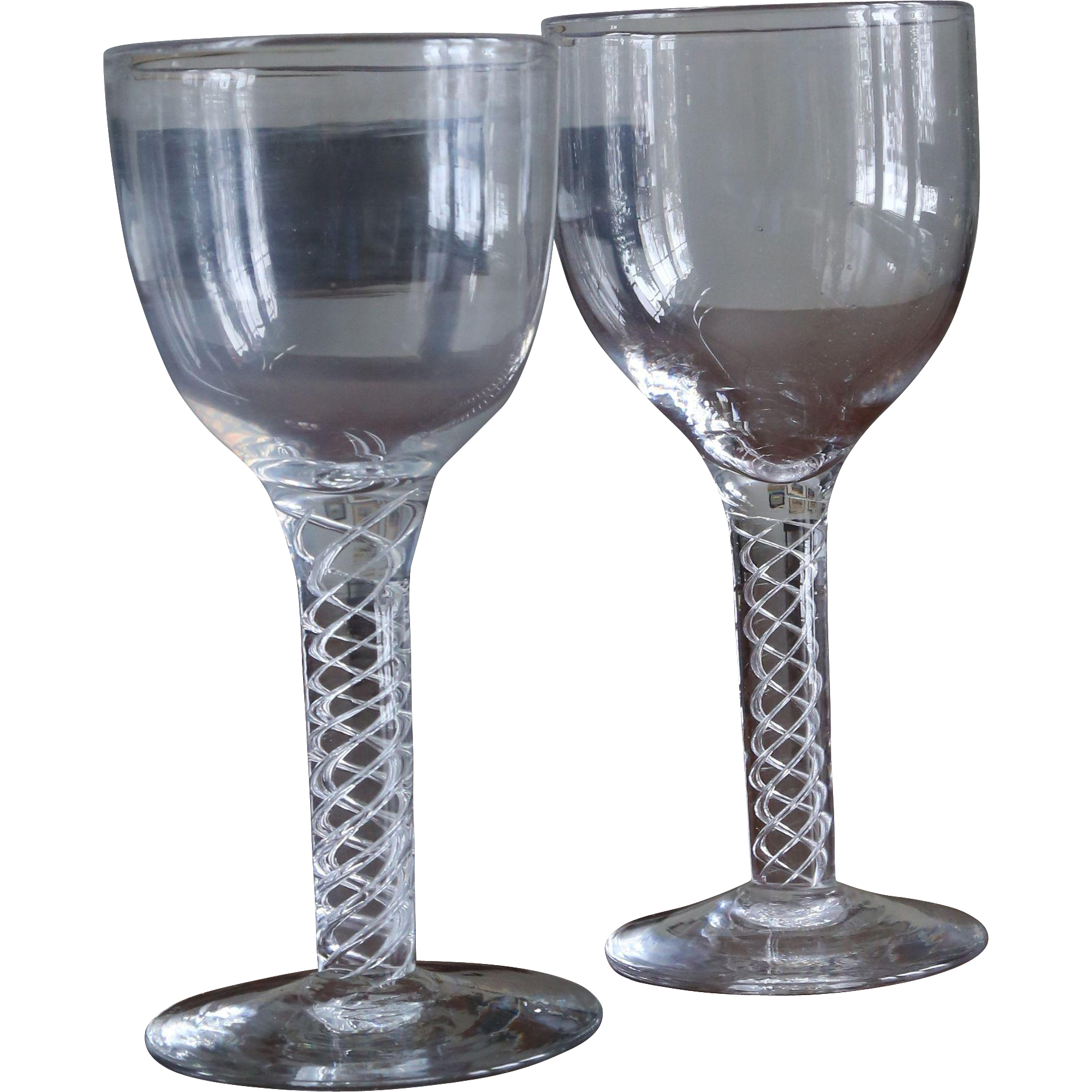 pair of antique air twist goblets wine glasses from. Black Bedroom Furniture Sets. Home Design Ideas