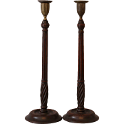 Antique Mahogany Candlesticks