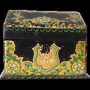 Antique Victorian Papier Mache Desk Box Container