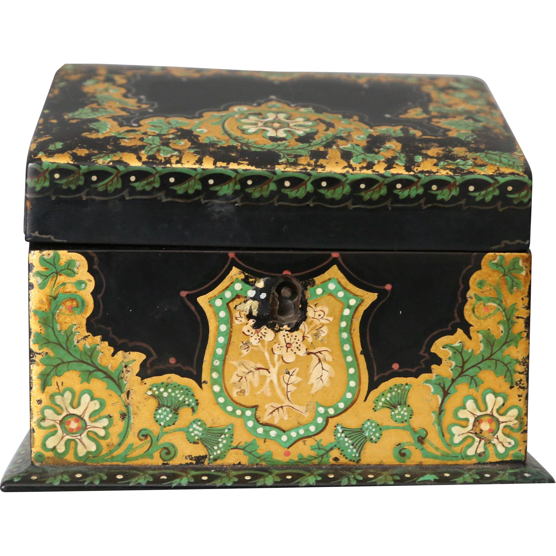 antique victorian papier mache desk box container from englandscountrytreasures on ruby lane. Black Bedroom Furniture Sets. Home Design Ideas