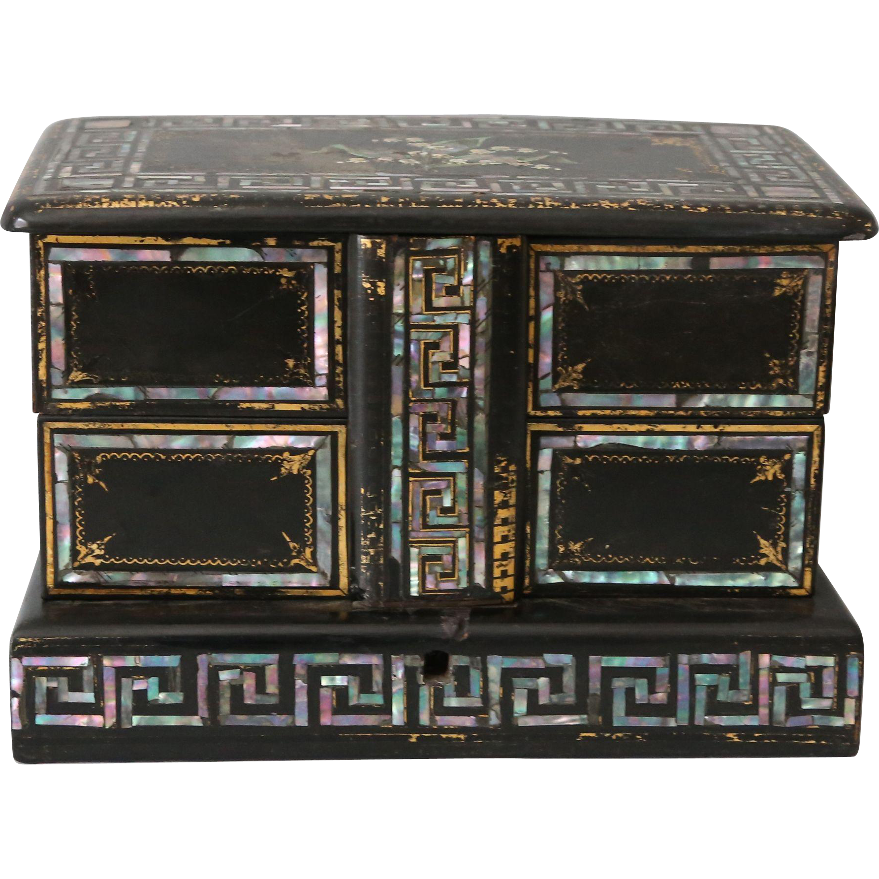 antique victorian papier mache mop jewelry box from englandscountrytreasures on ruby lane. Black Bedroom Furniture Sets. Home Design Ideas