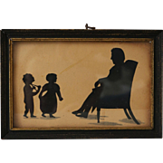 Antique Folk Silhouette of Father and Children