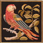 Vintage Victorian Style Needlepoint Parrot - Red Tag Sale Item