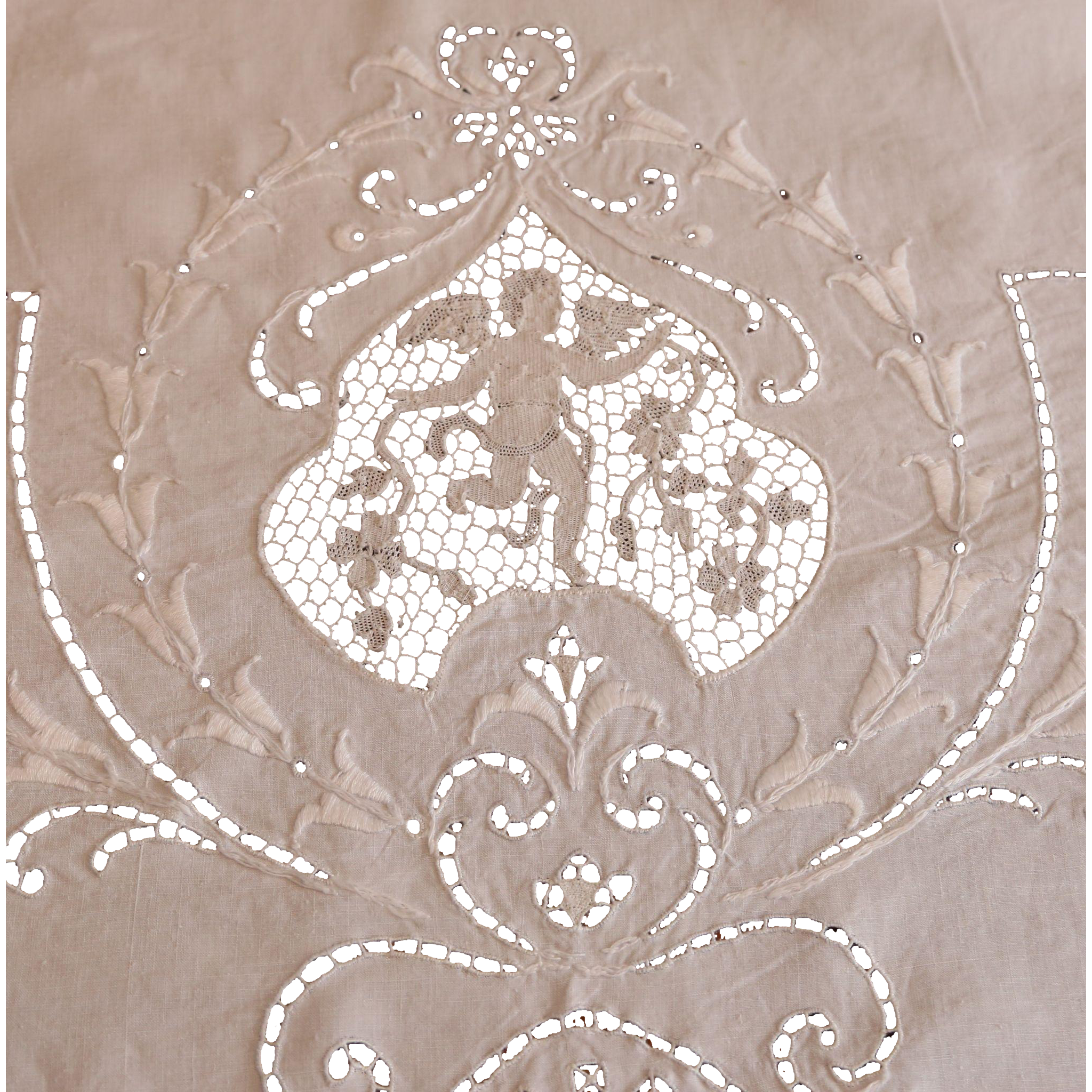 Vintage Needle Lace Embroidered Tablecloth With Angels,cherubs, Putti