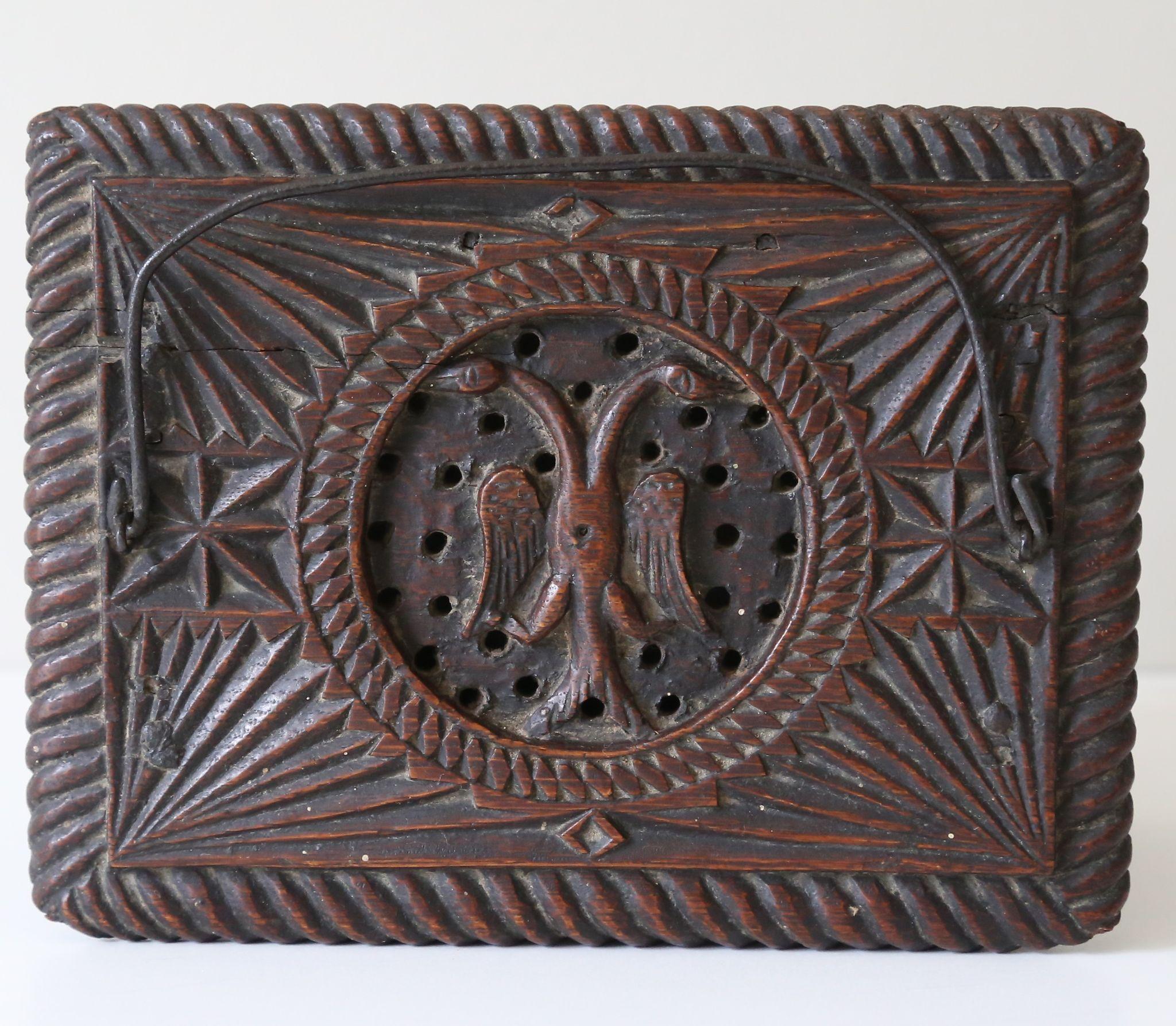 Antique chip carved double headed eagle incense burner