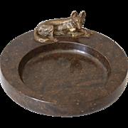 Vintage Marble Desk Tray with Bronze German Shepherd Figure