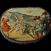 Antique Victorian Papier Mache Snuff Patch Pill Box with Children