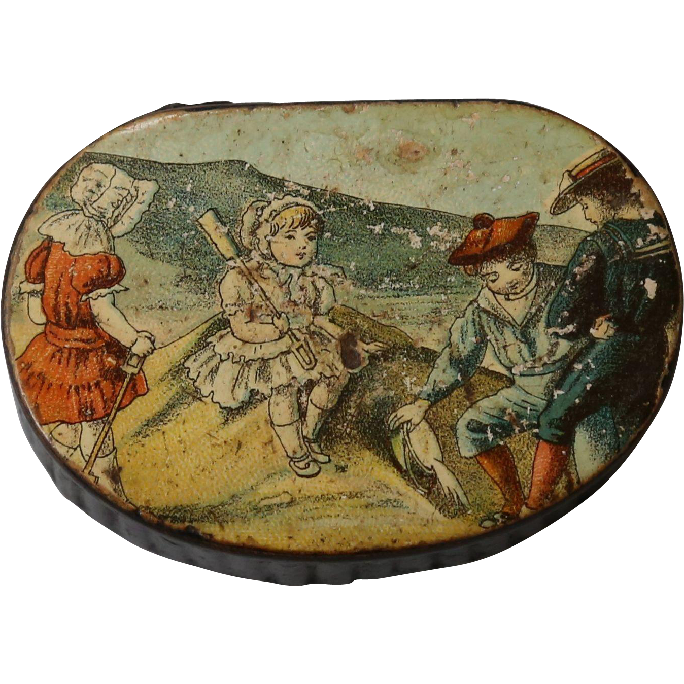 antique victorian papier mache snuff patch pill box with children from englandscountrytreasures. Black Bedroom Furniture Sets. Home Design Ideas