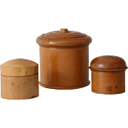 Collection of 3 Antique Treen Wooden Jars Containers
