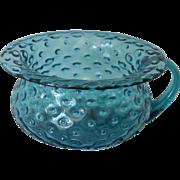 Antique Victorian Blue Bubble Glass Potty Chamber Pot