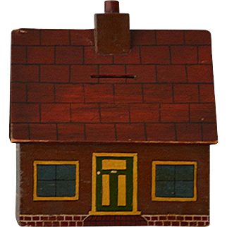 Antique Wooden House Bank