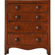 Miniature Antique Hepplewhite Chest of Drawers in Tiger Maple