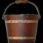 Antique French Papier Mache Bucket Pail