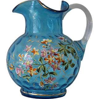 Victorian Blue Coin Dot and Enamelled Water Jug
