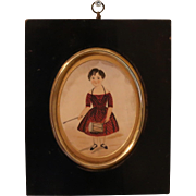 Georgian Miniature Folk Portrait of a Young Boy
