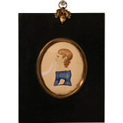 Miniature Georgian Folk Portrait of a Young Girl