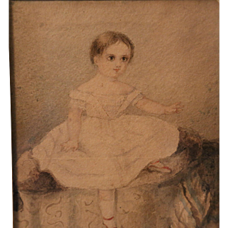 Antique Miniature Folk Watercolor of a Young Girl