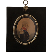 Antique Miniature Military Watercolor Portrait