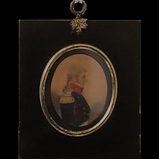 Antique Miniature Military Watercolor Portrait