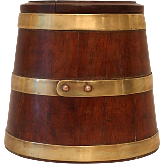 Antique Miniature Barrel in Mahogany and Brass