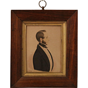 Antique Miniature Portrait of a Young Man