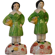Antique Pearlware Staffordshire Pair of Figures of Young Boys