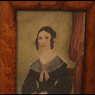 Antique Miniature Portrait of a Young Woman