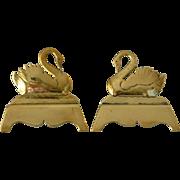 Antique Brass Swan Mantle Ornaments