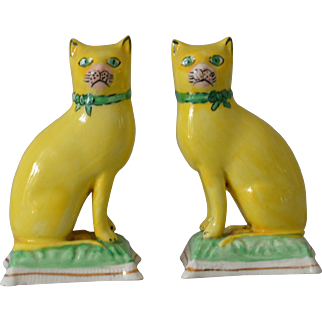 Antique Staffordshire Cats with Yellow Glaze