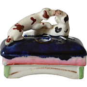 Antique Staffordshire Inkwell with Spaniels
