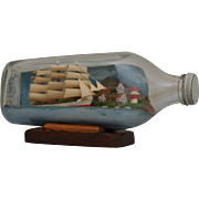 Vintage Model Sailing Ship in Bottle