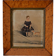 Antique Miniature Folk Portrait of a Young Boy