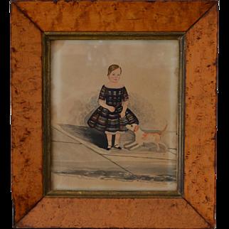 Antique Miniature Folk Portrait of a Young Boy