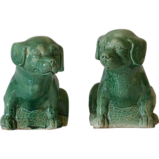 Antique Pottery Dogs with Green Slip Glaze